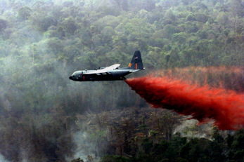 Drops of flame retardants on a wildfire